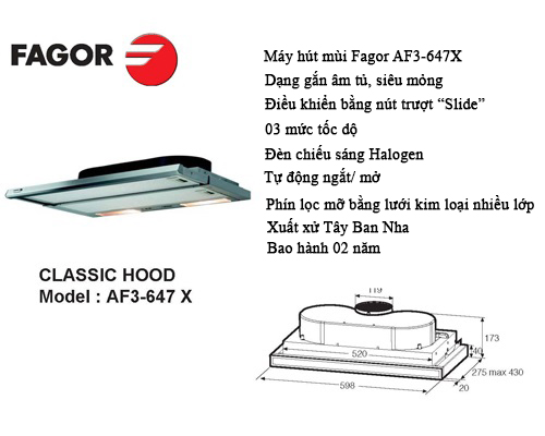 Máy hút mùi cổ điển Fagor MS AF3- 647X